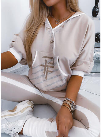 Letter Casual Sweatshirts & Two-Piece Outfits Set