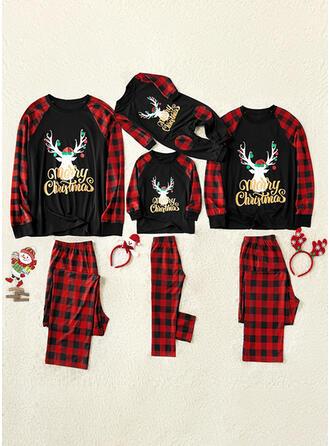 Santa Reindeer Color-block Plaid Print Family Matching Christmas Pajamas