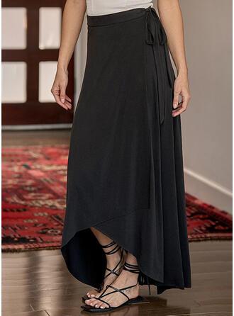 Cotton Blends Plain Asymmetrical A-Line Skirts