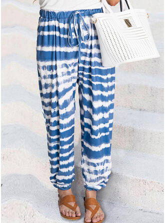Striped Plus Size Tie Dye Drawstring Long Casual Sporty Pants