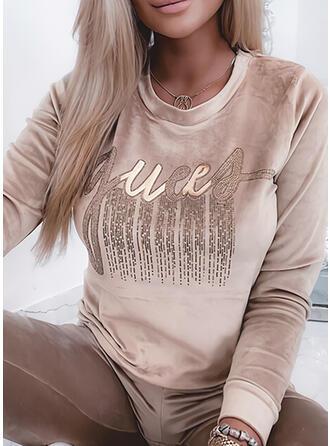 Print Letter Velvet Sequins Round Neck Long Sleeves Sweatshirt