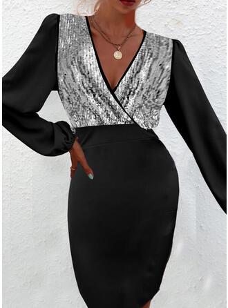 Color Block Long Sleeves Lantern Sleeve Cocoon Knee Length Party Dresses