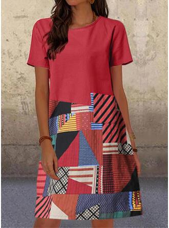Print Short Sleeves Shift Knee Length Casual Tunic Dresses