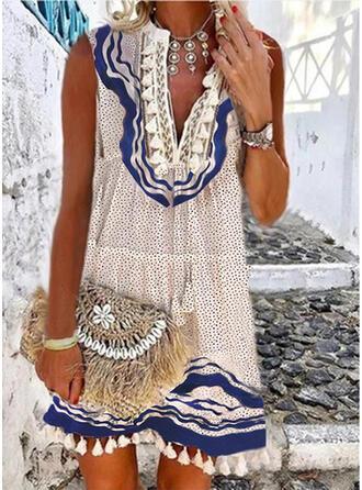 Lace/Print/PolkaDot/Tassel Sleeveless Shift Above Knee Boho/Vacation Dresses