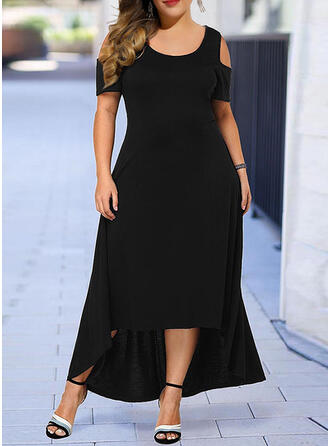 Plus Size Solid Cold Shoulder Sleeve Short Sleeves A-line Asymmetrical Casual Little Black Dress