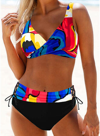 Print Strap Sexy Plus Size Boho Bikinis Swimsuits