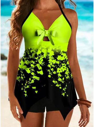 Dot Print Bowknot Halter V-Neck Plus Size Eye-catching Boho Tankinis Swimsuits