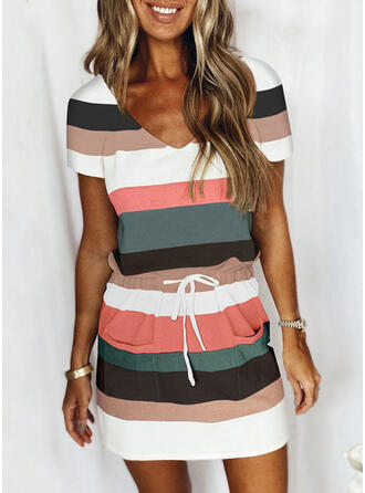 Print/Striped Short Sleeves Sheath Above Knee Casual Dresses