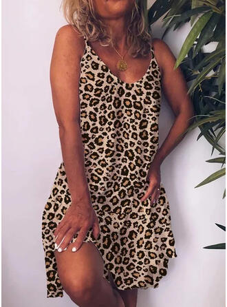 Leopard Sleeveless Shift Knee Length Sexy Dresses