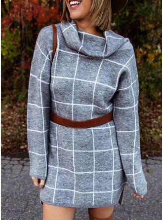 Plaid Long Sleeves Sheath Above Knee Casual Sweater Dresses