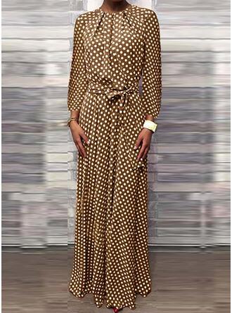 PolkaDot Long Sleeves Sheath Casual Maxi Dresses