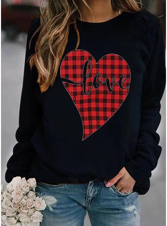 Print Grid Figure Heart Round Neck Long Sleeves Sweatshirt