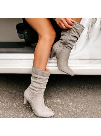 Women's Suede Cone Heel Boots With Zipper Solid Color shoes