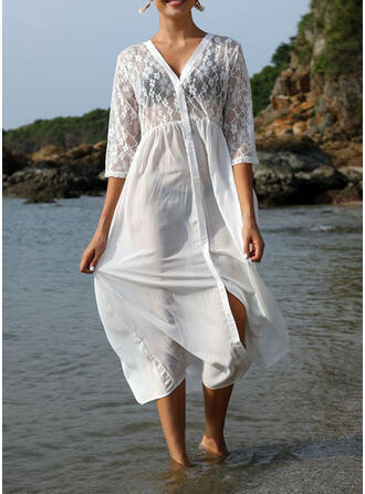 Solid Color V-Neck Elegant Classic Fresh Cover-ups Swimsuits