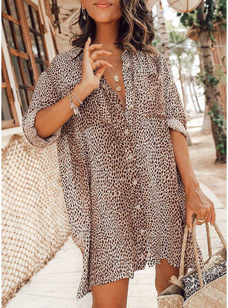 Print/Leopard 3/4 Sleeves Shift Above Knee Casual/Vacation Shirt Dresses