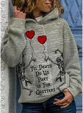Print Halloween Heart Long Sleeves Hoodie