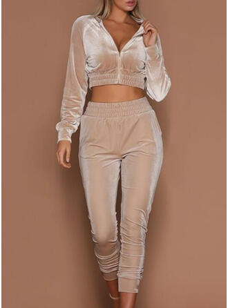 Solid Shirred Casual Sexy Sporty Suits