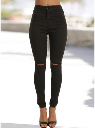 Solid Long Casual Shirred Ripped Pants Denim & Jeans