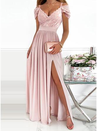 Solid Lace Short Sleeves Cold Shoulder Sleeve A-line Skater Party/Elegant Maxi Dresses