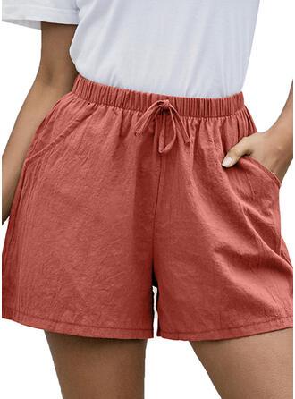 Pockets Shirred Above Knee Casual Skinny Sporty Shorts