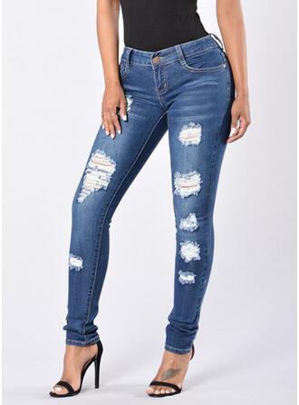Shirred Plus Size Ripped Long Elegant Plain Denim & Jeans