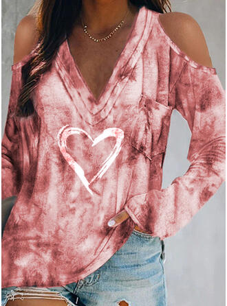 Print Tie Dye Heart Cold Shoulder Long Sleeves Casual Blouses