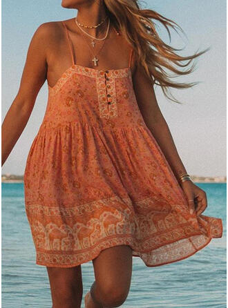 Print Sleeveless Shift Above Knee Boho/Vacation Slip Dresses