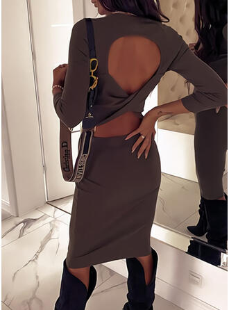 Solid Long Sleeves Bodycon Knee Length Sexy/Party Dresses