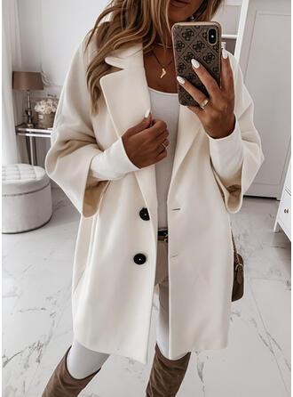 Long Sleeves Solid Woolen Coats