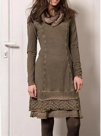 PolkaDot Long Sleeves Sheath Above Knee Casual Dresses