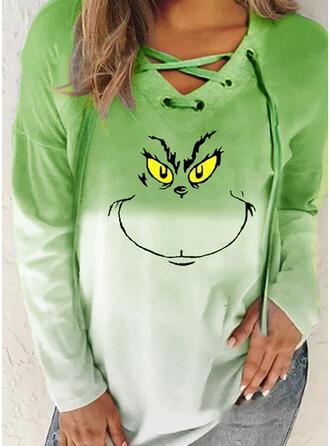 Print V-Neck Long Sleeves Christmas Sweatshirt