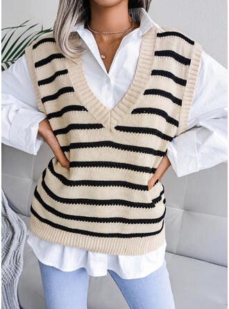 Striped V-Neck Casual Vest/Sleeveless