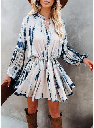 Tie Dye Long Sleeves A-line Above Knee Casual Skater Dresses