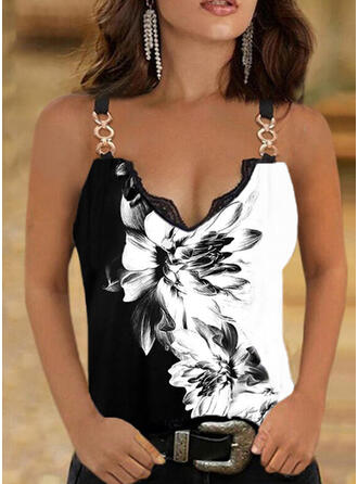 Floral Print Lace V-Neck Sleeveless Tank Tops