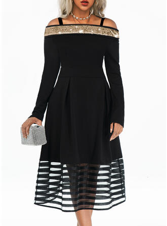 Solid Long Sleeves A-line Little Black/Party/Elegant Midi Dresses