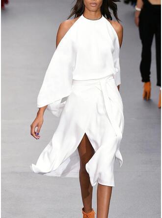 Solid Long Sleeves/Cold Shoulder Sleeve A-line Skater Little Black/Party Midi Dresses