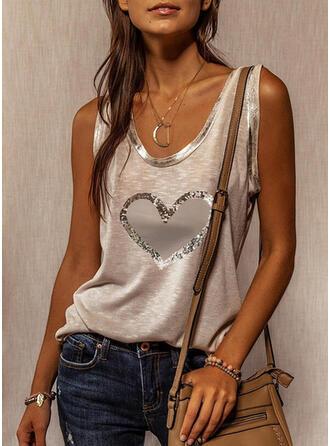 Heart Print Sequins Round Neck Sleeveless Tank Tops