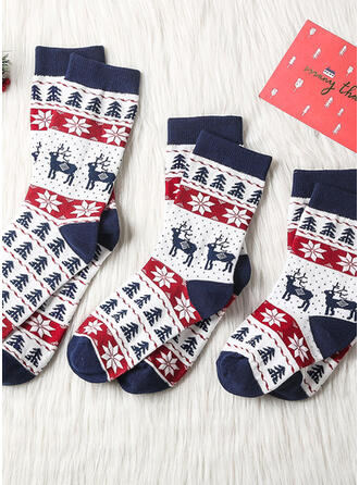 Plaid/Christmas Reindeer Comfortable/Christmas/Crew Socks/Unisex Socks