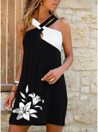 Print/Floral/Color Block Sleeveless Shift Above Knee Casual/Vacation Dresses