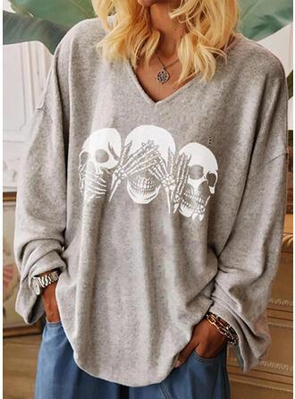 Print V-Neck Long Sleeves Casual Halloween T-shirts