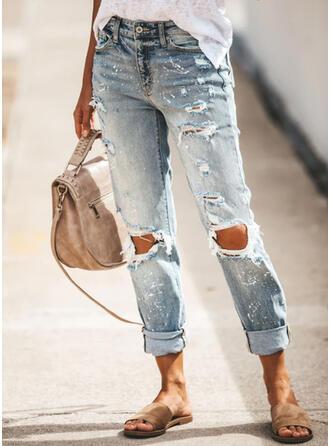 Ripped Casual Plain Denim & Jeans