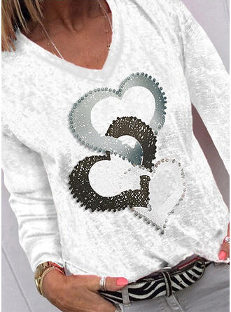 Heart Print V-Neck Long Sleeves T-shirts