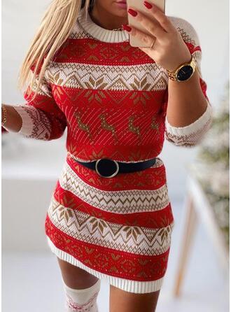 Christmas Print Animal Round Neck Casual Sweater Dress