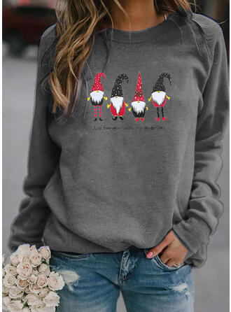Christmas Print Letter Round Neck Long Sleeves Christmas Sweatshirt