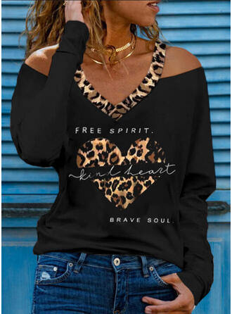 Leopard Heart Print Letter Cold Shoulder Long Sleeves T-shirts