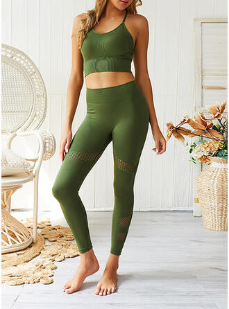 Strap U-Neck Sleeveless Solid Color Sports Leggings Sports Bras Yoga Sets