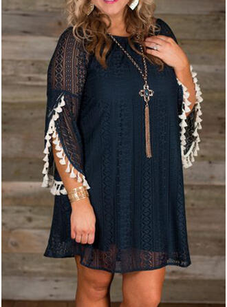 Lace/Solid 3/4 Sleeves Shift Above Knee Casual Tunic Dresses