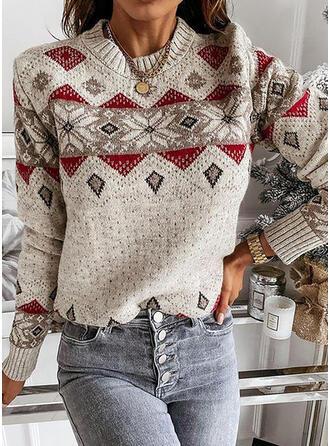 Print Geometric Round Neck Casual Sweaters