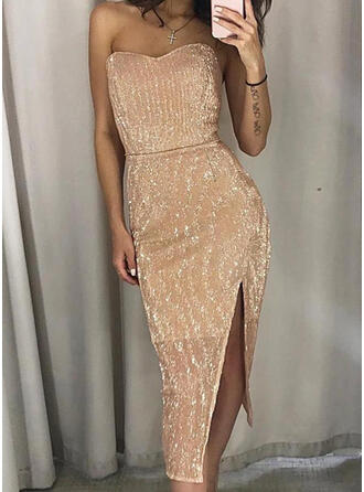 Sequins/Solid Sleeveless Sheath Party Midi Dresses
