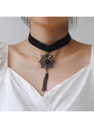Halloween Spider Net Gothic Alloy Lace With Tassels Necklaces